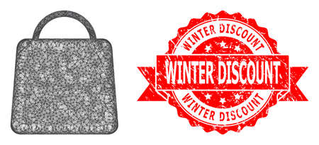 Wire frame shopping bag icon, and Winter Discount dirty ribbon seal. Red stamp seal has Winter Discount tag inside ribbon.Geometric wire frame 2D network based on shopping bag icon,