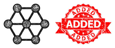 Network node connections icon, and Added rubber ribbon seal imitation. Red stamp seal contains Added text inside ribbon.Geometric linear frame 2D network based on node connections icon,