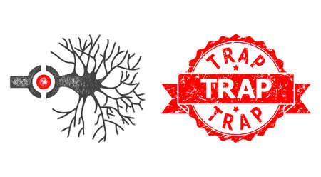 Network neuron digital interface icon, and Trap scratched ribbon stamp seal. Red stamp seal contains Trap caption inside ribbon.