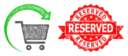 Network repeat shopping order icon, and Reserved dirty ribbon seal imitation. Red seal has Reserved tag inside ribbon.Geometric wire carcass 2D network based on repeat shopping order icon,