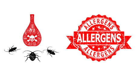 Net cockroach poison icon, and Allergens dirty ribbon stamp seal. Red seal has Allergens text inside ribbon.Geometric wire frame flat net based on cockroach poison icon, generated with crossed lines.