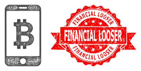 Wire frame mobile bitcoin bank icon, and Financial Looser grunge ribbon seal. Red stamp seal includes Financial Looser caption inside ribbon.