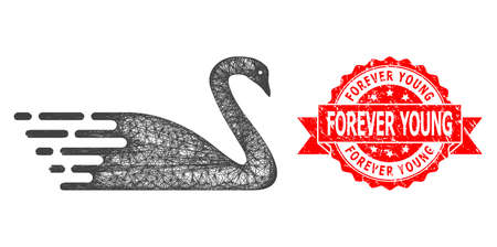 Net swan icon, and Forever Young dirty ribbon seal print. Red stamp seal includes Forever Young title inside ribbon.Geometric linear frame flat net based on swan icon, generated with crossing lines. Illusztráció