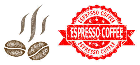 Wire frame coffee beans smell icon, and Espresso Coffee grunge ribbon seal imitation. Red stamp seal has Espresso Coffee title inside ribbon.  イラスト・ベクター素材