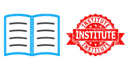 Wire frame open book icon, and Institute unclean ribbon seal. Red seal has Institute title inside ribbon.Geometric wire frame 2D net based on open book icon, generated with crossed lines.