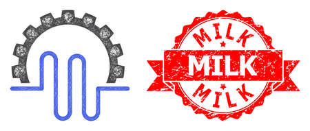 Wire frame pipe service gear icon, and Milk dirty ribbon stamp seal. Red stamp seal has Milk text inside ribbon.Geometric wire carcass 2D net based on pipe service gear icon,