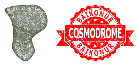 Network spot icon, and Baikonur Cosmodrome scratched ribbon stamp seal. Red stamp seal includes Baikonur Cosmodrome text inside ribbon.Geometric wire carcass 2D network based on spot icon,