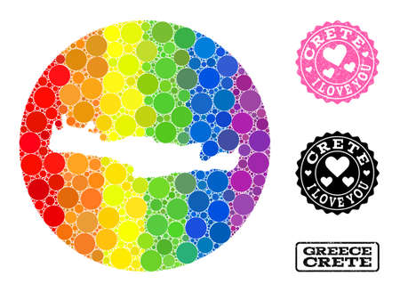 Vector mosaic LGBT map of Crete Island with circle dots, and Love scratched stamp. Stencil circle map of Crete Island collage designed with circles in variable sizes, and spectrum bright color hues.