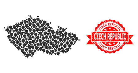 Pinpoint mosaic map of Czech Republic and grunge ribbon seal. Red stamp contains Czech Republic tag inside ribbon. Abstract map of Czech Republic is done with random pinpoint items. Abstract scheme.