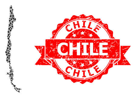 Marker collage map of Chile and grunge ribbon seal. Red stamp seal has Chile title inside ribbon. Abstract map of Chile is done of scattered navigation elements. Navigation scheme. Vetores