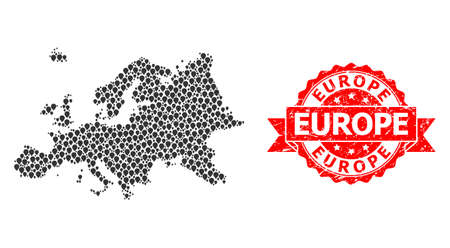 Pin mosaic map of Europe and grunge ribbon watermark. Red stamp includes Europe caption inside ribbon. Abstract map of Europe is formed from scattered pin elements. Abstract scheme.