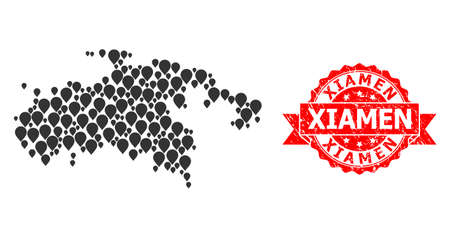 Pin collage map of Saint John Island and grunge ribbon seal. Red seal includes Xiamen title inside ribbon. Abstract map of Saint John Island is composed with scattered pin elements. Abstract scheme.