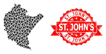 Marker mosaic map of Podkarpackie Province and grunge ribbon stamp. Red stamp includes St. JohnS title inside ribbon. Abstract map of Podkarpackie Province is done with randomized pointer icons.