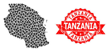Pin collage map of Tanzania and scratched ribbon watermark. Red stamp seal contains Tanzania text inside ribbon. Abstract map of Tanzania is composed with scattered pin icons. Abstract plan.