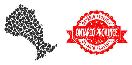 Target collage map of Ontario Province and grunge ribbon stamp. Red stamp has Ontario Province title inside ribbon. Abstract map of Ontario Province is created from scattered destination symbols.