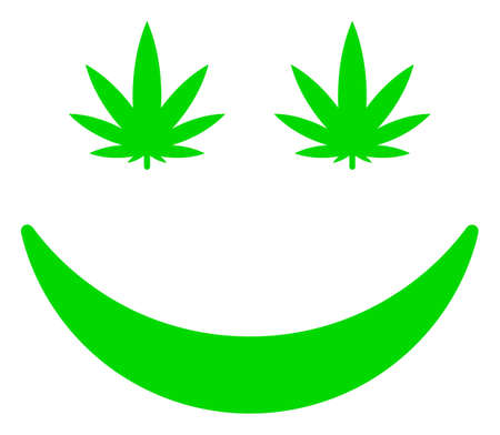 Cannabis smile icon on a white background. Isolated cannabis smile symbol with flat style. Ilustração Vetorial