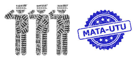Mata-Utu corroded stamp and vector recursive mosaic soldiers. Blue stamp contains Mata-Utu caption inside rosette. Vector mosaic is made of recursive rotated soldiers items.