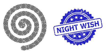 Night Wish dirty seal and vector recursion collage hypnosis spiral. Blue seal has Night Wish title inside rosette. Vector collage is formed with random rotated hypnosis spiral icons.