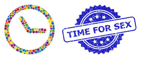 Round dot collage clock and TIME FOR SEX unclean stamp. Blue stamp includes TIME FOR SEX text inside rosette. Vector clock collage is composed with scattered color round parts.