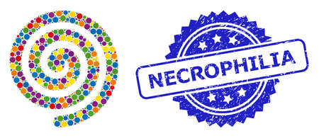Round dot collage hypnosis spiral and NECROPHILIA dirty stamp seal. Blue seal includes NECROPHILIA caption inside rosette. Vector hypnosis spiral collage is done with scattered colorful circle parts. Illusztráció