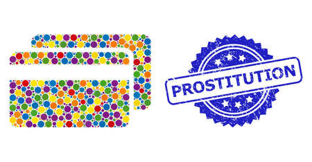 Circle mosaic credit cards and PROSTITUTION corroded stamp seal. Blue stamp seal contains PROSTITUTION caption inside rosette. Vector credit cards mosaic is created of scattered color circle items.