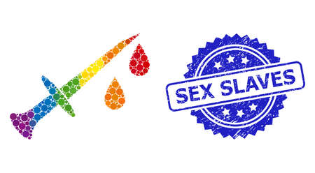 Spectrum gradient colorful circle mosaic blood sword, and Sex Slaves dirty rosette seal imitation. Blue stamp seal has Sex Slaves title inside rosette.