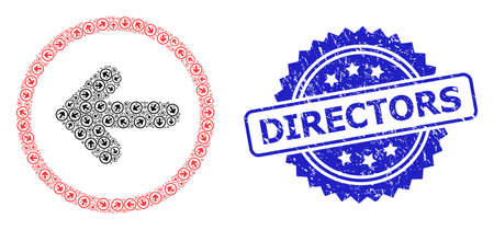 Vector recursive mosaic left pointer, and Directors scratched stamp. Blue stamp seal contains Directors caption inside rosette. Vector mosaic is made with random rotated left pointer pictograms.
