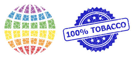 Vector recursion mosaic LGBT globe, and 100% Tobacco unclean stamp seal. Blue stamp has 100% Tobacco tag inside rosette. Vector mosaic is constructed with repeating rotated LGBT globe icons.