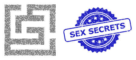 Vector recursion mosaic labyrinth, and Sex Secrets rubber seal imitation. Blue stamp seal has Sex Secrets text inside rosette. Vector mosaic is constructed with random rotated labyrinth icons.  イラスト・ベクター素材