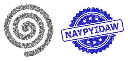 Vector recursive collage hypnosis spiral, and Naypyidaw rubber seal print. Blue stamp seal has Naypyidaw caption inside rosette. Illusztráció