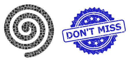 Square mosaic hypnosis spiral and DONT MISS corroded stamp seal. Blue stamp includes DONT MISS title inside rosette. Vector hypnosis spiral mosaic is designed from random square parts.