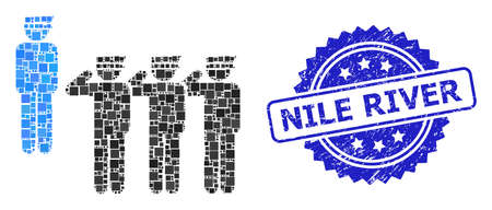 Square collage military unit and NILE RIVER unclean stamp seal. Blue stamp seal includes NILE RIVER text inside rosette. Vector military unit collage is made of random rectangular items.