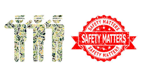 Military camouflage collage of soldiers, and Safety Matters rubber seal imitation. Red stamp seal includes Safety Matters text inside ribbon. Mosaic soldiers designed with camouflage spots.