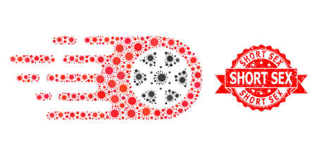 Vector mosaic bolide wheel of covid-2019 virus, and Short Sex dirty ribbon seal. Virus items inside bolide wheel mosaic. Red stamp seal contains Short Sex text inside ribbon.