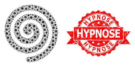 Vector collage hypnosis spiral of virus, and Hypnose corroded ribbon stamp. Virus particles inside hypnosis spiral collage. Red seal includes Hypnose title inside ribbon.