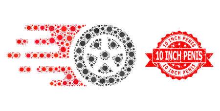 Vector mosaic car wheel of virus, and 10 Inch Penis unclean ribbon seal imitation. Virus particles inside car wheel mosaic. Red seal includes 10 Inch Penis title inside ribbon.