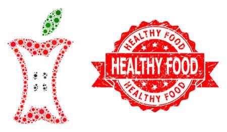 Vector mosaic apple stump of SARS virus, and Healthy Food unclean ribbon seal imitation. Virus cells inside apple stump mosaic. Red seal contains Healthy Food caption inside ribbon.