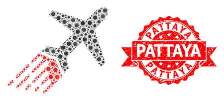 Vector mosaic air liner of covid-2019 virus, and Pattaya textured ribbon stamp. Virus particles inside air liner composition. Red stamp contains Pattaya tag inside ribbon.