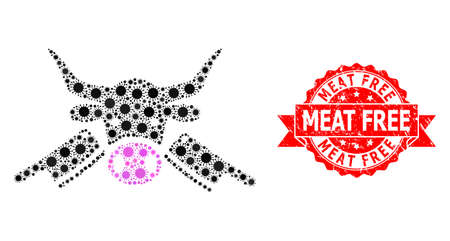 Vector mosaic butchery of corona virus, and Meat Free dirty ribbon stamp. Virus particles inside butchery composition. Red stamp contains Meat Free tag inside ribbon.