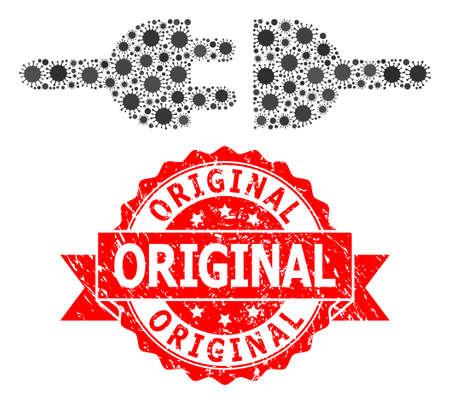 Vector mosaic electric connection of covid, and Original rubber ribbon seal imitation. Virus cells inside electric connection mosaic. Red stamp seal has Original title inside ribbon.