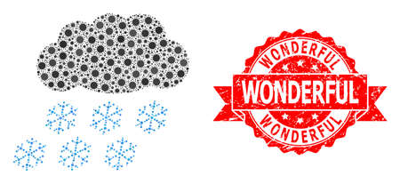 Vector collage snow cloud of SARS virus, and Wonderful textured ribbon seal imitation. Virus cells inside snow cloud collage. Red stamp seal has Wonderful caption inside ribbon.