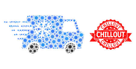 Vector mosaic refrigerator car of flu virus, and Chillout scratched ribbon seal. Virus particles inside refrigerator car mosaic. Red seal includes Chillout text inside ribbon.