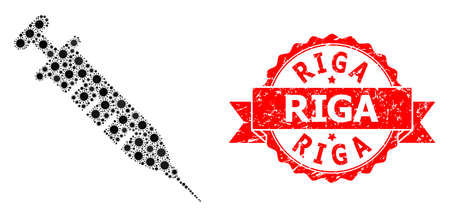 Vector mosaic vaccine of covid-2019 virus, and Riga textured ribbon stamp seal. Virus items inside vaccine mosaic. Red stamp seal includes Riga title inside ribbon. Çizim