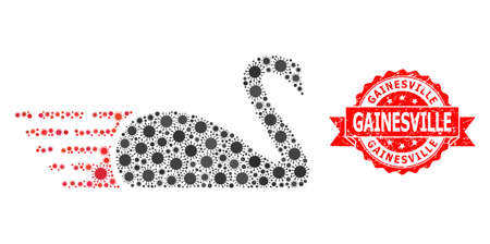 Vector collage swan of covid-2019 virus, and Gainesville grunge ribbon stamp seal. Virus items inside swan composition. Red stamp seal has Gainesville caption inside ribbon.