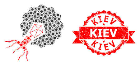 Vector collage virus infecting cell of virus, and Kiev unclean ribbon stamp seal. Virus items inside virus infecting cell composition. Red stamp seal includes Kiev title inside ribbon. Illusztráció