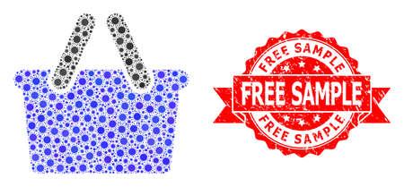 Vector collage shopping bag of coronavirus, and Free Sample textured ribbon stamp seal. Virus elements inside shopping bag collage. Red stamp seal includes Free Sample tag inside ribbon.