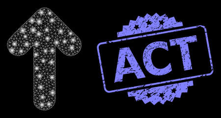 Shiny mesh web arrow up with glowing spots, and Act textured rosette stamp seal. Illuminated vector constellation created from arrow up icon. Blue stamp seal contains Act title inside rosette.