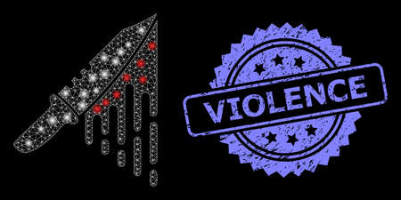 Bright mesh network blood knife with light spots, and Violence corroded rosette stamp seal. Illuminated vector model created from blood knife icon. Blue stamp seal has Violence text inside rosette. 向量圖像
