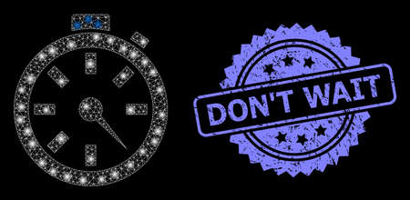 Bright mesh net timer with light spots, and DonT Wait grunge rosette stamp seal. Illuminated vector constellation created from timer icon. Blue stamp seal has DonT Wait caption inside rosette.