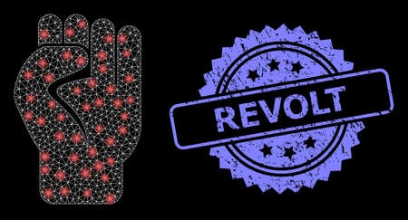 Glowing mesh network clenched fist with light spots, and Revolt dirty rosette stamp. Illuminated vector model created from clenched fist icon. Blue stamp seal contains Revolt text inside rosette.